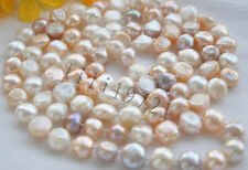 12-13MM WHITE PINK LAVENDER BAROQUE  FRESHWATER PEARL NECKLACE 54""