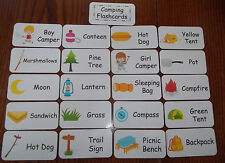 Camping themed Flash Cards. Preschool flash cards. Learn about camping supplies