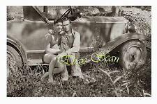 VINTAGE 1920's PHOTO AFFECTIONATE GAY MEN MAKE LOVE ON OLD CAR GAY INTEREST 123