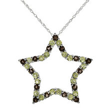 SUPERB SOLID 10K WHITE GOLD GENUINE PERIDOT AND TOPAZ STAR NECKLACE  U$710