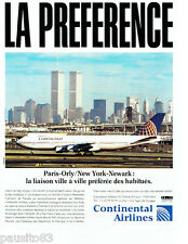 PUBLICITE ADVERTISING 096  1994  Continental Airlines Paris-New York NEWARK