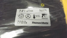 """1000CATAMOUNT/THOMAS & BETTS BLACK CABLE TIES  7.5""""NET,50LBS TENSILE,MADE IN USA"""