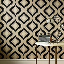 Superfresco Easy Paste the Wall Trippy Retro 60's Charcoal Wallpaper 30-450
