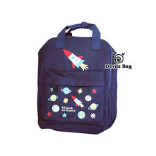 Rocket Planet Pattern Fashion Navy Blue Backpack Travel SchoolBag Rucksack