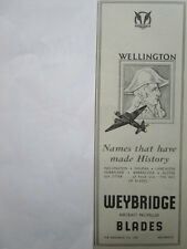 8/1945 PUB THE AIRSCREW CO WEYBRIDGE PROPELLERS HELICES WELLINGTON ORIGINAL AD