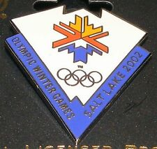 SALT LAKE CITY 2002 Olympic Collectible Logo Pin - White & Blue Triangle