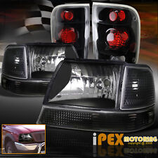 "For 1998-2000 Ford Ranger ""Black 6-PC Combo"" Headlights + Signals + Tail Lights"
