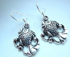 Fish Dangle Earrings 925 Sterling Silver Corona Sun Jewelry sea food ocean