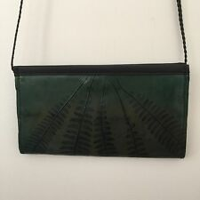 C L Whiting Leaf Evening Bag Wallet on a String Green Leather 3rd Anniversary