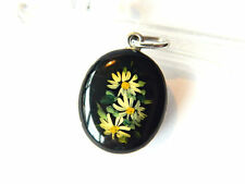 Hand-Painted Enamel Silver PHOTO LOCKET PENDANT Daisy Flowers, Vintage
