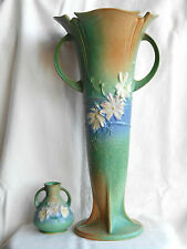 Roseville Pottery, Green Cosmos 18 inch Floor Vase #958-18 and 4 in. vase #944-4