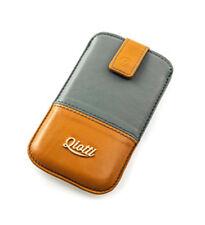 Exclusive Luxustasche QIOTTI für Mobistel Cynus F4 Leder braun grau