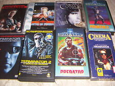 BLOCCO VHS E DVD 8 PEZZI SCHWARZENEGGER TERMINATOR CONAN PREDATOR
