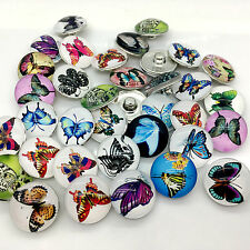 Wholesale Lots 15pcs 18mm Snap Button Butterfly Ginger Snap Chunk Button Mixed