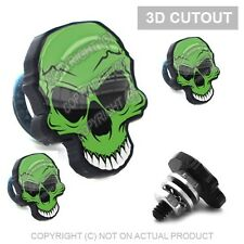 4 Black 3D Skull License Plate Frame Fastener Tag Bolts for Motorcycle GREEN