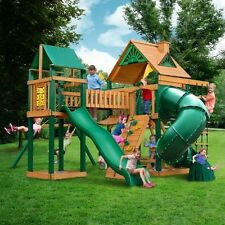 Wooden Outdoor Playset Swing Tube Slide Set Kids Playground Backyard All in One