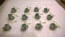 12 HANDMADE CHRISTMAS ORNAMENTS MADE WITH BLING TEAL, GOLD AND SILVER