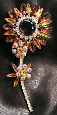 VINTAGE JULIANA D&E LARGE TOPAZ AMBER AB RHINESTONE SUNFLOWER BROOCH BOOK PIECE!