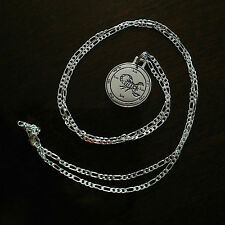 "Scorpio Scorpion Pendant Necklace on 28"" Sterling Silver Figaro Chain 25mm diam"