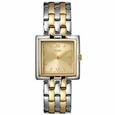 NEW TIMEX 2 TONE SILVER+GOLD,STAINLESS STEEL BRACELET MINI SQUARE WATCH-T2N004Pf