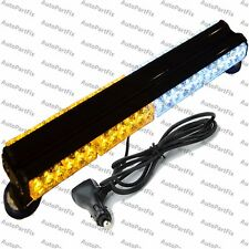 "25"" 144W LED White Amber Light Magnet Warning Strobe Flashing Bar Emergency Roof"