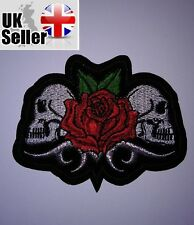 Skulls and Rose Iron-on/sew-on Embroidered Patch Motorcycle Biker Punk Rock