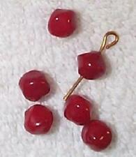 VINTAGE JAPANESE PIGEON BLOOD RED RARE GLASS BEADS WOW   24 PCS-RED-