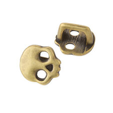 Brass Skull Slider Charm Beads Fit Regaliz Leather 16mm Pack of 2 (F23/14)