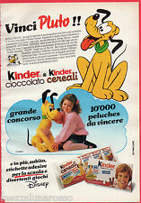 Pubblicità Advertising 1989 KINDER cioccolato & KINDER cereali - Disney Pluto