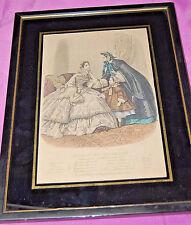 Antique French Framed Fashion Illustration 1860 Magasin Des Demoiselles [S5975]