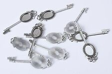 10x 56mm Key Shaped Antique Silver Plated Bezel Cameo Pendant Cabochon Setting