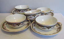 PATTERN BOJ91 JEAN BOYER LIMOGES BLUE BAND PINK ROSES SCROLL CUPS SAUCERS 11 LOT