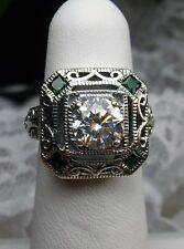*Emerald* & White Gems 1930s Art Deco Sterling Silver Filigree Ring Size 5.5