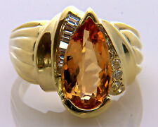 $7,800 HUBERT 9.50ct Pear Cut Imperial Topaz Diamond 18K Gold Cocktail Ring Sz.9