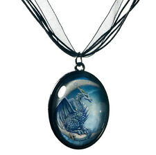 New Wish Dragon on Moon Picture Cabochon Pendant Necklace Lisa Parker