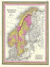 1850 MITCHELL MAP SWEDEN NORWAY VINTAGE REPRO POSTER ART PRINT 2896PYLV