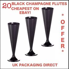 Cheap Plastic Champagne Flutes Glasses X 20 Elegant Offer Party Bubbly Black