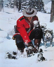 Canadian Mountie RCMP with Husky Dog, and Puppies by Arnold Friberg