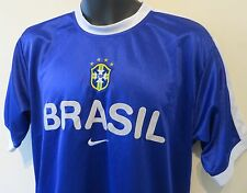 Blue Nike BRASIL Football Shirt Training Soccer Jersey Brazil Camiseta Maglia S