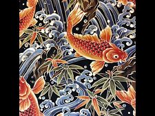 RPB263A Japanese Koi Fish Water Sea Wave Asian Exotic Japan Cotton Quilt Fabric