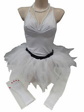Neon Pink Tutu Skirt  80s Fancy Dress Leg Warmers Gloves & Beads Feathered Style