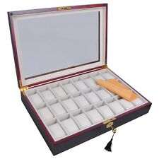 24 Wood Watch Display Storage Box Glass Top Jewelry Organizer Case Xmas Men Gift