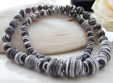 AAA 6-14mm Black White Turkey Turquoise Round Loose Beads Gem Necklace 18'' R-66