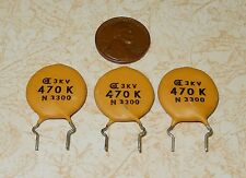 3 Dielectron Circle D 470pf 3KV Vintage Ceramic Disc Capacitors +/-10% NOS