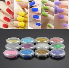 12 Colors Acrylic Nail Art UV Gel Glitter Powder Beads Decoration Tips Kit Gift