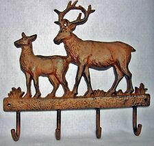 Antiqued Cast Iron DEER COAT RACK HOOKS w BUCK and DOE ~ 4 Hooks ~ HEAVY