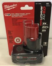 NEW MILWAUKEE 48-11-2460 M12 RED LITHIUM XC6.0 EXTENDED CAPACITY BATTERY PACK