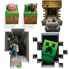 Minecraft Wall Cling Decals Stickers Kids Decor 3D Art Toy Room Decals 5 Pack