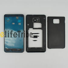 Full Housing Cover Case + Button for Samsung Galaxy S2 i9100 Black