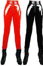 Fashion Red PVC leather leggings Thin Pants Look Punk Leggings Whith Zipper 201